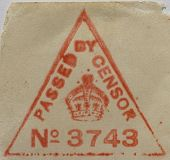 A British World War I censor's stamp on an envelope. Very detailed file - paper fibres showing clearly.