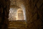 View from one of the small rooms inside Karak castle, the former Crusader stronghold, in Jordan.