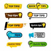 Quick Tips. Idea Suggestion, Tricks Solutions Advice And Best Solution Tip Isolated Vector Banner Si poster