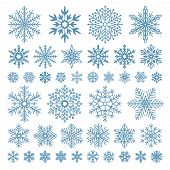 Flat Snowflakes. Winter Snowflake Crystals, Christmas Snow Shapes And Frosted Cool Icon Vector Symbo poster