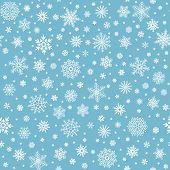 Snowflakes Seamless Pattern. Winter Snow Flake Stars, Falling Flakes Snows And Snowed Snowfall Vecto poster