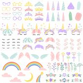 Pony Unicorn Face Elements. Pretty Hairstyle, Magic Horn And Little Fairy Crown. Unicorns Head Creat poster