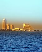 The Doha Sheraton Hotel pyramid and the Four Seasons Hotel towers with the Conference Centre between