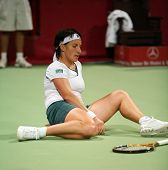 Russian tennis star Svetlana Kuznetsova, always battling to reach the hardest balls, recovers from a