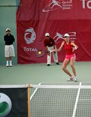 Mara Santangelo of Italy in action against fellow Italian Francesca Schiavone at the Qatar Total Ope