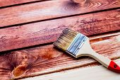 Varnishing A Wooden Shelf Using Paintbrush.brush And Paint, Stain, Wooden Floor, Wall, Repair, Resto poster