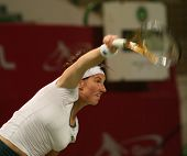 Svetlana Kuznetsova in action at the Qatar Total Open, March 2007