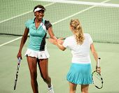 Doubles partners Venus Williams from the US and Caroline Wozniacki of Denmark at Qatar Total Open, F