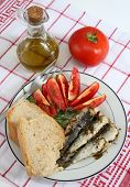 A meal of sardines, bread and tomato, garnished with dill and served with olive oil.