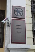 HERAKLION, GREECE - JULY 27: A branch or Alpha Bank in Heraklion (Iraklio), Crete. Alpha Bank's part