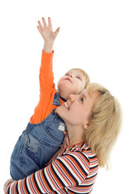 pic of hands up  - happy family mother and baby show hand up over white background - JPG