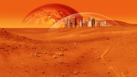 foto of sci-fi  - Fantasy image of city under a glass dome on red desert planet - JPG