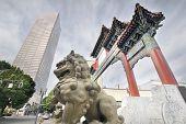 Chinese Foo Dog At Chinatown Gate Entrance