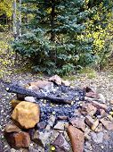 stock photo of colorado high country  - Campfire in Colorado high country forest in Fall - JPG