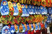 Rows Of Potholders With Russian Symbols (matryoshka And Rowanberry)