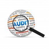stock photo of financial audit  - Audit 3d Word Sphere with magnifying glass on white background - JPG