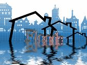 Cityscape And Housing Symbols In Flood