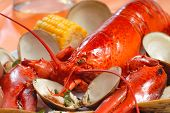 Boiled Lobster Dinner With Clams And Corn