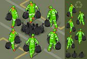 set of garbage man in six position