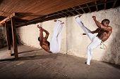 Artistas de Capoeira guapo patadas