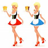 illustration of a beautiful waitress girl serving beer