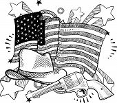 picture of vaquero  - Doodle style American cowboy or Wild West objects in front of an American flag background - JPG