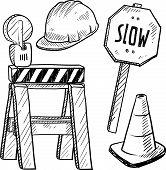 Boceto de equipo de construcción de carretera