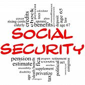 Social Security Word Cloud Concept In Red & Black