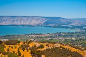 stock photo of golan-heights  - View from Galilee Mountains to Galilee Sea Kinneret - JPG