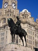 Statue In Front Of The Liver Buildings
