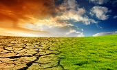 stock photo of global-warming  - The Effect of Global Warming is shown on a landscape - JPG
