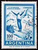 Postage stamp Argentina 1961 Ski Jumper