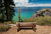 Wooden Bench With A View Of Lake Tahoe
