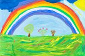 Child's Paiting - Rainbow Under Green Earth