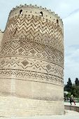 foto of shiraz  - Falling tower on the corner of fortress Arg - JPG