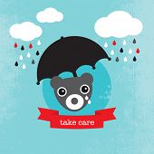 foto of condolence  - Bear crying in the rain kids illustration condolence for baby boy template for postcard - JPG
