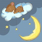Sleeping bear on a cloud with moon and stars