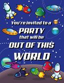 Party invitation - Out of this World - Text is on a separate layer