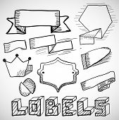 Vector hand drawn labels and design elements doodles