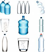 water bottle and glasses Illustration set