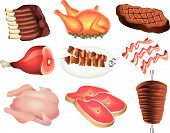 meat picture realistic illustration set