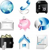 business icons detailed vector set