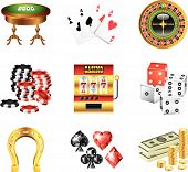 casino icons detailed vector set