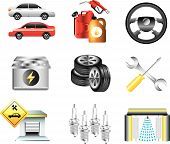 car service and filling station icons