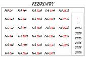 February Month Dates