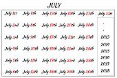 July Month Dates