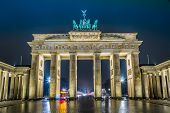 foto of gate  - BRANDENBURG GATE Berlin Germany at night - JPG