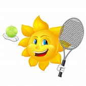 Cartoon Sun Is Playing Tennis