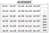 November Month Dates