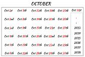 October Month Dates